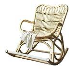 XIALIUXIA Schaukelstuhl Natur Rattan, Schaukler Relax-Stuhl Schwingsessel Lounge Chair Für Wohnzimmer, Balkon, Einfache Montage,Belastbarkeit 150 Kg