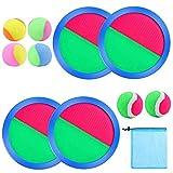 Aneco Paddel-Wurf- und Fangball-Set Spielzeug Self Stick Paddelspiel für Sport, Strand mit Aufbewahrungstasche, 4 Paddeln und 6 Bällen