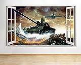 Wandtattoo Poster Tapeten Army War Panzer Kids Fire Window Wall Stickers Wall Stickers 3D-50x70cm