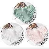 Heliansheng 3 Stück Reine Baumwolle Damen sexy Spitze Höschen Mode einfarbige Mädchen Bogen Slips -A664-L-M1181