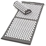 MAXXIVA® Akupressur Matte 130 x 50 cm Set mit Kissen Grau Yantramatte Fakirmatte stimuliert die Durchblutung, löst Verspannungen