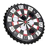 Relaxdays 10023506 Kronkorken Dartscheibe, magnetische Zielscheibe, Dart Trinkspiel mit 6 Kronkorken, Partyspiel Ø 25 cm, schwarz