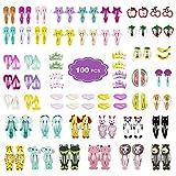 Haarspangen 100 Stück Haarspange Snap Karikatur Entwurfs Obst Tiere Metalldruck Haarklammern für Kleinkinder, Kinder, Mädchen,Damen