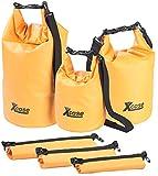 Xcase wasserdichte Packtaschen: 3er-Set wasserdichte Packsäcke aus LKW-Plane, 5/10/20 Liter, orange (Gepäcktaschen)