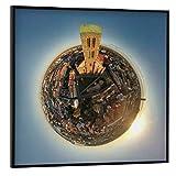 artboxONE Poster mit schwarzem Rahmen 40x40 cm Städte Wismar - Kirche St. Nikolai - Bild wismar georgen Hafen