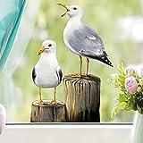 Wandtattoo Loft Fensterbild Frühling Kinderzimmer Vögel Möwen Holz– Wiederverwendbare Fensteraufkleber maritim (2. A3 Bogen)