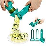 SveBake Spiralschneider Gemüse Hand 4 in 1, Julienneschneider, Schäler, Peeler, Zoodle Maker, Spiralizer für Karotte, Gurke, Zucchini | Grün