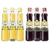Yo Sirup Fresh Zitrus-Mix, 6er Pack, PET (6 x 700 ml) & Schwarze Ribisel, 6er Pack, PET (6 x 700 ml)