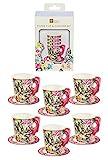 Talking Tables Truly Alice in Wonderland; Papptassen und Untertassen für Teekränzchen, Hochzeiten und Geburtstagspartys, Verrückte Hutmacher-Party, Bunt, 250 ml (12 pro Pack)