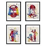 Nacnic Star Wars Aquarell Poster 4-er Set. Wasserfarbe Stil Wanddekoration Abbildung von Darth Vader, Yoda, R2-D2 und C3PO. Verschiedene mehrfarbige Filme und Popkultur Bilder ohne Rahmen. Größe A4.