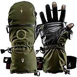 K&S The Heat Company Handwärmer Handschuhe Heat 3 Special Force Fingerhandschuh und Fäustling Wasserdicht Atmungsaktiv Primaloft Gold mit Echt Ziegenleder (SMART Grün-Oliv, 7)