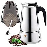 O'woda Espressokocher Set Edelstahl Mokkakanne mit Untersetzer, 4 Tassen Espresso Maker 200ml, Löffel, Tragebeutel, Induktion Coffee Maker Herde geeig