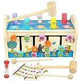 jerryvon Kinderspielzeug Klopfbank Montessori Spielzeug ab 3 4 5 Jahre Hammerspiel Holz 3 in 1 Motorikspielzeug mit Xylophon & Labyrinth Holzspielzeug Vorschul Pädagogische Spiel Geschenk für Kinder