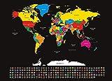 infactory Rubbel Weltkarte XXL: XXL-Weltkarte mit Ländern und Flaggen zum Freirubbeln, 82 x 59 cm (Poster)