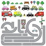 Decowall DW-1204 10 Transporte Autos Fahrzeuge mit Straßen Wandtattoo Wandsticker Wandaufkleber Wanddeko für Wohnzimmer S