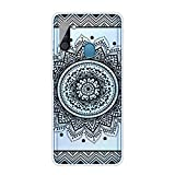 Miagon Transparent Hülle für Samsung Galaxy A21,Mandala Blume Muster Kreativ Süße Durchsichtig Klar Soft Ultra Dünn Silikon Case Cover Schutzabdeckung