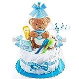 Timfanie® Windeltorte | Spieluhr LiebhabBÄR | blau | Windeln Gr. 2 + Schnullerkette & Gravur