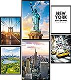 Calias® Premium Poster Set New York | Bilder Set für Wohnzimmer Deko oder Schlafzimmer Deko | Stilvolle Wanddeko | 6er Set ohne Rahmen | 2X DIN A3 und 4X DIN A4