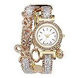 Uhr Damen Armbanduhren Strass Quarz Armbanduhr Luxus Mode Damen Lederarmband Armbanduhren Weiß