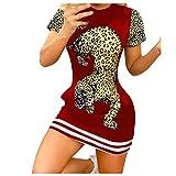 XUNN Damen Tops Mode Sexy Lässiges Kurzärmliges Rundem Hals Blouses T-Shirt Frauen Mini Kleid
