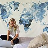 Dremisland Wandteppich Indisch Mandala Hippie Bohemien Mandala Wandtuch Tapisserie Weltkarte Tapisserie Blau & weiß Wandbehang Tapestry für Wohnzimmer Schlafzimmer Dekor(Blau Weltkarte, L / 148x200cm)