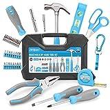 Hi-Spec 42-teiliges Werkzeug DIY Kit mit Handwerkzeugen und 2-in-1 Schraubenzieher Bit Griff für Haushaltsreperaturen in einem Koffer in Blau