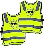 2 Warnweste Kinder Sicherheitsweste Gelb Stark Sichtbar - Atmungsaktiv - Universal Größe Schutz für Jungs M