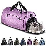 Fitgriff® Sporttasche Reisetasche mit Schuhfach & Nassfach - Männer & Frauen Fitnesstasche - Tasche für Sport, Fitness, Gym - Travel Bag & Duffel Bag 48cm x 26cm x 25cm [30 Liter] (Purple, Small)