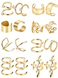 8 Paar Edelstahl Ohr Manschette Nicht Piercing Clip auf Knorpel Ohrringe für Männer Damen, 8 Verschiedene Stile (Gold)