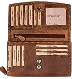 Hill Burry hochwertige Leder Geldbörse | echtes Vintage Leder - XXL Langes Portemonnaie - Kreditkartenetui | Damen - Herren Geldbeutel - RFID Schutz (Braun)