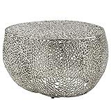 FineBuy Couchtisch 65x45x65 cm Aluminium Silber Design Loungetisch Rund | Sofatisch Aststruktur Metall | Wohnzimmertisch Modern | Stubentisch Klein Orientalisch