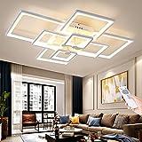 LED Deckenleuchte Modern Weiß 108W Dimmbar mit Fernbedienung Wohnzimmerlampe 8-flammig Rechteck Rahmen Design Deckenlampe Schlafzimmerlampe Esszimmer Deckenlicht Metall Acryl Innenbeleuchtung, L106CM