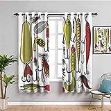 ZLYYH Vorhang Wohnzimmer Angelhaken Köder Tier Fisch BxL:117x138cm(58x138cm x2 Panel) mit Ösen 2 Stücke Romatisch Blickdicht Gardine für Wohnzimmer Kinderzimmer Schlafzimmer
