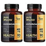 2x 3Flow Solutions PureFlow Ashwagandha   400mg hochdosiert   90 Kapseln je Beälter (180 Stück insg.)   Withania Somnifera Extrakt Indischer Ginseng Schafbeere   Nahrungsergänzungsmittel (2er Pack)