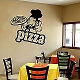 Pizza Wandtattoo Tür Fenster Glas Vinyl Aufkleber Italien Essen Pizza Italienische Küche Restaurant Küche Dekor Nettes Chef Wandbild 57X58C