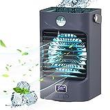 Mobile klimageräte Air Cooler, 4 in 1 Air Conditioner mit 120° Drehfunktion, Tragbare Luftbefeuchter und Luftreiniger mit wassertank und 3 Lüfterstufen 7 LED-Leuchten, Anzeigetemperatur