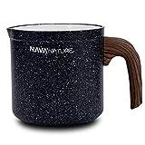 NAVA Milchtopf / Stielkasserolle mit Granitbeschichtung Nature zum Aufkochen von Milch / Schmelzen von Schokolade 1l