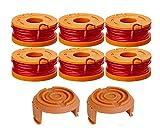 6 Pack WA0004.1 Rasentrimmer Faden für alle 20V WORX Rasentrimmer(6 x 3m Länge, Fadendurchmesser ⌀1,65 mm Fadenspule)+ 2 x Kappes