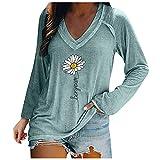Damen Winter Langarm Mode Lose V-Ausschnitt Frische Reine Farbe Blumendruck Langarm NäHte LäSsig Plus GrößE T-Shirt Top