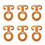 6-teiliges Aluminium-Zeltseil T-Ring-Haken Camping Zeltspanner Seilversteller, Orange