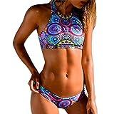 OVERDOSE Frauen Bikini Set Bandage Push-Up gepolsterter BH Strand Bademode Damen Badeanzug Badeanzüge(A-Multicolor,S)