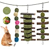 Charfia Kleintierspielzeug, 3 Stück Kauenspielzeug Pet Snack Spielzeug mit Natürlicher Grasball Gras Kuchen und Apfelstäbchen für Kaninchen, Hamster, Papageien, Eichhö