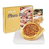 Homfa Pizzastein Pizza Set Backofen und Gasgrill Pizza Stein mit Bambuspizzaschaufel und Rezept Backstein in C