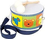 small foot 3315 Trommel / Musikinstrument aus Holz für Kinder mit bunten Tieren, Trageriemen und Trommelstöck