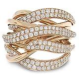 DGSDFGAH Ring Frauen Goldener Twined Strass Einfacher Ring Damenschmuck Glänzende Größe Schöne Einzigartige Passende Damenschmuck Geschenk Für Jubiläum Verlobungsfeier Party, 7