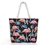 Comius Sharp Große Strandtasche, Strandtasche Damen Shopper Tasche Sommer Schultertasche Canvas Umhnge Tasche Strand Tasche mit Reißverschluss und Innentasche (07)