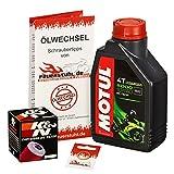 Motul 10W-40 Öl + K&N Ölfilter für Yamaha WR 125 R/X, 09-15, DE07 - Ölwechselset inkl. Motoröl, Filter, Dichtring