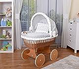 WALDIN Baby Stubenwagen-Set mit Ausstattung,XXL,Bollerwagen,komplett,25 Modelle wählbar,Gestell/Räder lackiert,Stoffe grau/Sterne