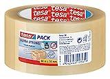 tesapack Ultra Strong - PVC-Klebebänder für festes Verpacken und sicheres Bündeln - Transparent - 66 m x 50 mm