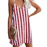 Cross-Border 2021 European and American Hot Models Ebay Amazon Wish Fashion Sexy Striped Suspender Dress Women's Clothing